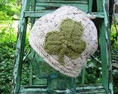 Knit Shamrock Hat Tweed Beanie St Patrick's Day Emerald Isle Handmade Original by Textilesone Cap Noggin Warmer Adult Size Ready to Ship