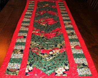 """Patchwork Quilted Table Runner for Christmas  58"""" x 20"""""""