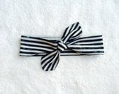 Black & White  Parisian striped knotted headwrap, turban, headband, knot headband, top knot