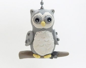 Owl Ceiling Fan Pull - Owl Nursery - Owl Decor - Gray and White - Polymer Clay - Childrens Ceiling Fan Pull