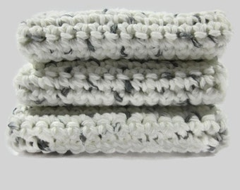 Salt and Pepper Crochet Cotton Dish Cloth Wash Cloth Set of Three