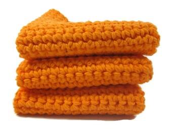 Bright Orange Crochet Cotton Dish Cloth Wash Cloth Set of Three