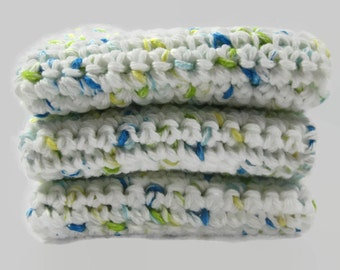 Crochet Cotton Dish Cloth Wash Cloth Set of Three