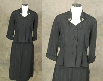 vintage 40s Suit - Noir Black Rayon Suit - 1940s Rhinestone Pyramid Blazer Jacket and Skirt Set Sz M