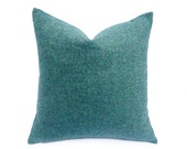 Mens Tweed Pillow Covers, Wool Teal Throw Pillow, Flecks of Blue, Green, Turquoise, Country Cushion Covers, 20x20, Mens Pillow Decor