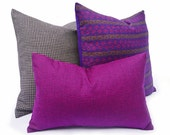 Magenta Houndstooth Pillows, Vibrant Purple Accent Pillow, Scottish Wool Plaid Pillows, Cushion Covers, Oblong, 12x18 Lumbar