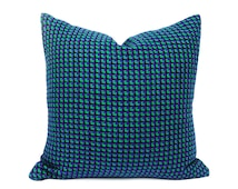 Green Purple Houndstooth Pillows, Emerald Green, Violet Blue, Graphic Cushion Cover, Textured Sofa Pillow, 20x20, 50x50 cm
