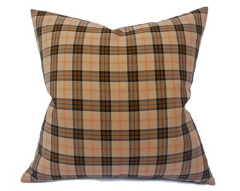 Tan Plaid Pillow, Tan Black Plaid Cushion Covers, Rustic Country Pillows, Masculine Throw Pillows, 12x18 Lumbar, 20x20, Cabin Style Decor