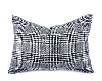 Black White Plaid Throw Pillow, Diamond Plaid Wool Pillow Cover, Masculine Cushion Cover, Accent Pillow, Winter Decor, Lumbar 14x20, 20x20