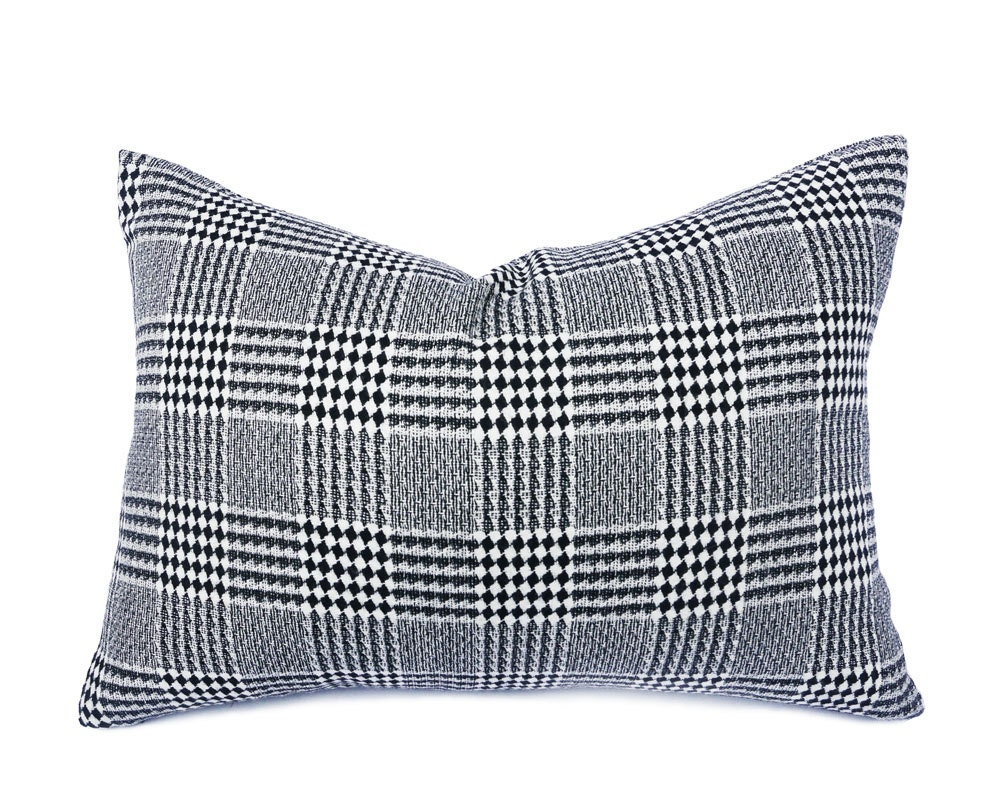 Black Plaid Throw Pillow : Black White Plaid Throw Pillow Diamond Plaid Wool Pillow