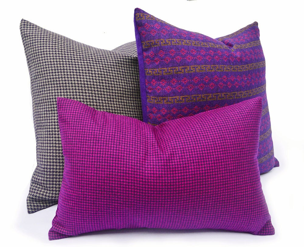 Magenta Houndstooth Pillows Vibrant Purple By Pillowthrowdecor