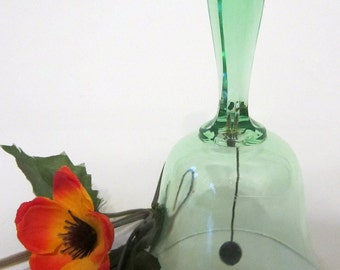 Depression Glass Emerald Green Crystal Clear BELL Faceted Handle Metal Dinger Clacker