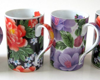 Floral Flower Coffee Mug Tea Cup Giftware Power Collection Vintage Bone China Ornate C Handle