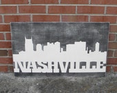 East Nashville sign with skyline, Tennnessee sign, Nashville skyline art,  porch sign, custom city skyline sign