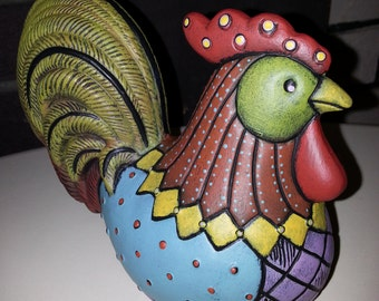 Hand Painted Ceramic Patchwork Rooster