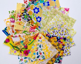 "40 Liberty Lawn  2.5 inch mini charm squares - YELLOWS - 40 Liberty tana lawn 2.5""  patchwork squares"