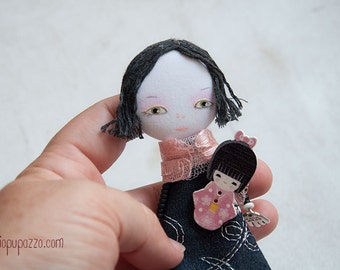 Japanese Girl, Art Doll Brooch, mixed media collage, gift for her
