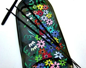 Incense Burner,  Recycled Green Wine Bottle,   Melted Bottle Incense Holder,   Hand Painted Colorful Flowers