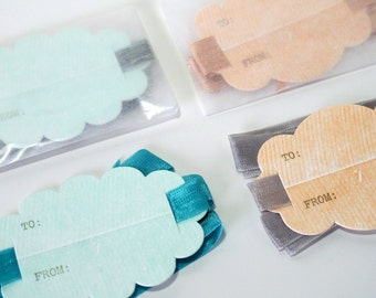 scallop letterpress gift tags with ribbon