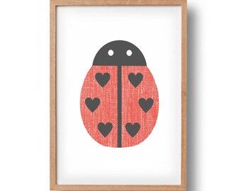 Screen Print - 'Love Bug'  Hand Pulled Screenprint