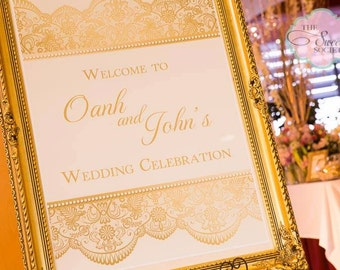 GOLD LACE Printable 24 x 36  inch Welcome Sign