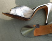 SALE Vintage Silver Stiletto heels from the 50s SILVER VAMPS entirely Hand Made and beautiful  va va voom