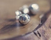faceted post earrings - sterling silver - recycled silver - studs