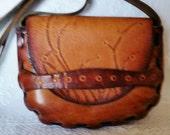 Vintage Tooled Leather Hippie Handbag Petite Size