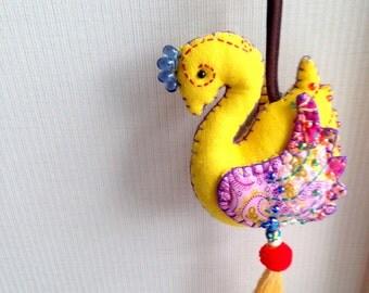 Yellow Bird Keychain, Peacock, Yellow Key chain, fabric animal, fabric keychain, bag decoration, plush bird, fringe, colorful, children, kid