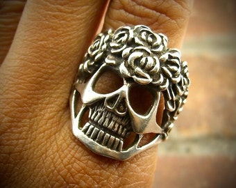 Huge Day of the Dead Vintage CALAVERA 925 Sterling Silver Ring - Size 8.75 - 9.3g- Very heavy