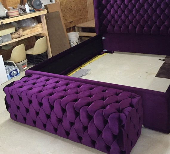 Tufted Bed Bench Upholstered Bench Purple Velvet By