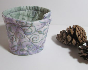 Reversible Coffee Sleeve in light Lavender and Green, coffee cozy