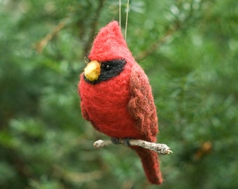 Needle Felted Cardinal Ornament