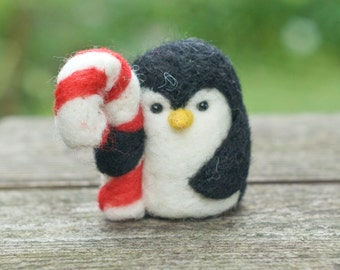 Needle Felted Penguin - Holding Candy Cane