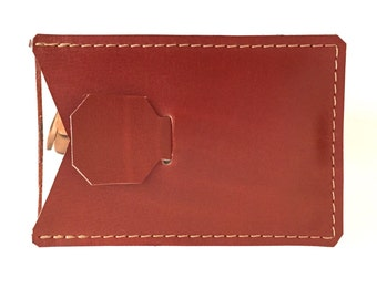 Leather Business or Credit Card Case Wallet Pull Tab