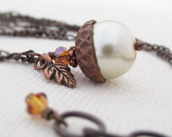 Acorn Necklace, Fall Pendant Necklace, Pearl Acorn, Autumn Jewelry, Acorn Charm Necklace