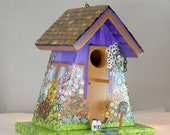 Unique Lavender Outdoor Birdhouse , Handcrafted , Hand Painted , Eco-Friendly , with Clean Out