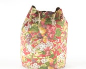 Vintage Backpack Floral Canvas  Bag Carryall Purse Apple Blossom Satchel Rucksack Tote