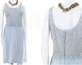 Vintage 1950s Light Blue Dress Lace Party Dress Size Small