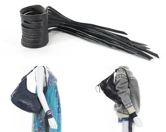 Black Leather Fringe Wrist Cuff Custom Made Small Medium Large
