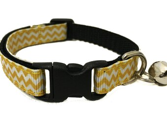 Yellow Chevron Cat Collar with Breakaway Safety Buckle