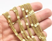 2 M - Raw Brass Faceted 3 Strand Ball Chain 3x1.5mm Z128