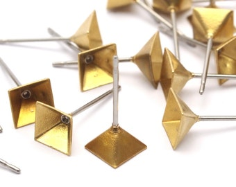 Stainless Steel Pyramid Post, 50 Stainless Steel Earring Posts With Raw Brass 6x6mm Pyramid Pad, Ear Studs Bs 1250