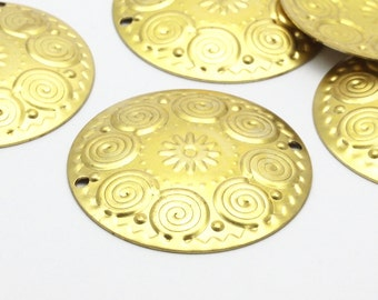 10 pcs Raw Brass Textured Charms (32 mm) A0173