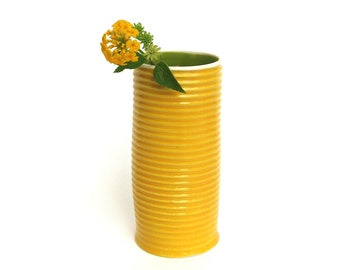 happy  hand built porcelain vase  ...  vessel  ...  yellow and green