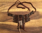 Native american brown bone beaded choker