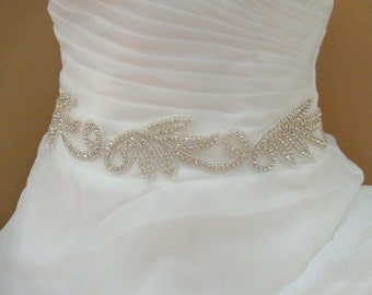 Bridal Sash Belt , Crystal wedding sash , Crystal sash , Beaded Sash, Rhinestone Bridal Sash,