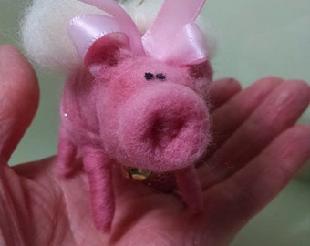 Pink Pig Felted Wool Angel - NEW for 2015