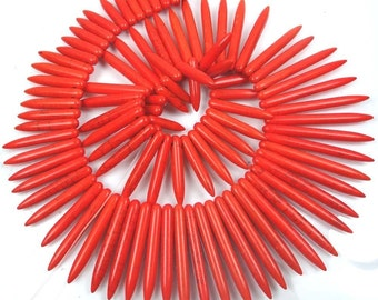 "20-48mm Orange Turquoise Graduated Spike Stick Beads 18"" (e7483)"