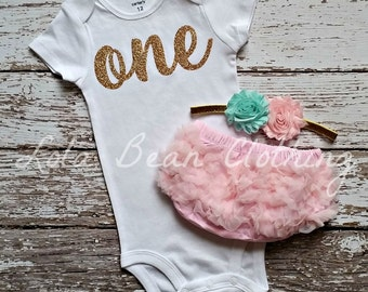 Baby Girl Baby Girl 1st Birthday Outfit Cake Smash Gold One Bodysuit Pink Bloomers Mint Headband LolaBeanClothing